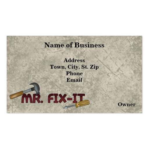 Business Contractors-Handyman Card Business Card Template