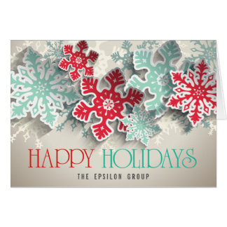 Business Corporate Snowflakes Happy Holidays Card