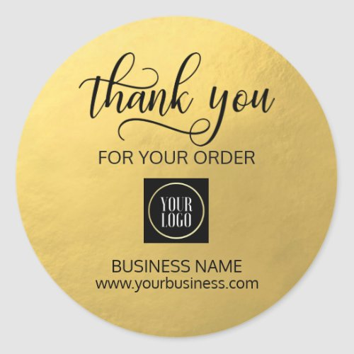 Business Corporate Thank You Gold Black  Add LOGO Classic Round Sticker