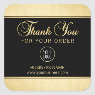 Business Corporate Thank You Gold Black | Add LOGO Square Sticker