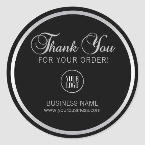 Business Corporate Thank You Silver  Add LOGO Classic Round Sticker