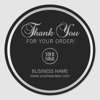 Business Corporate Thank You Silver | Add LOGO Classic Round Sticker
