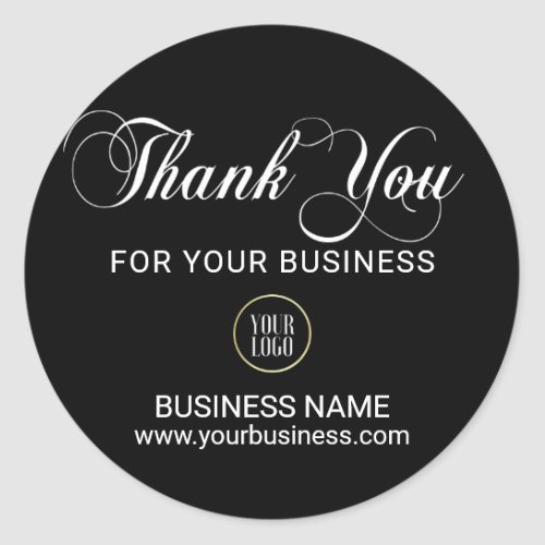 Business Corporate THANK YOU White Black Add LOGO Classic Round Sticker