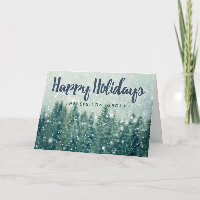 Business Corporate Winter Snow Happy Holidays Card