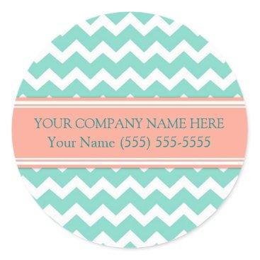Professional Business Business Custom Company Name Aqua Coral Chevron Classic Round Sticker
