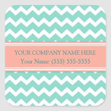 Professional Business Business Custom Company Name Aqua Coral Chevron Square Sticker