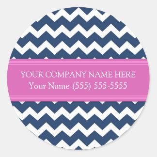 Business Custom Company Name Blue Pink Chevron Classic Round Sticker