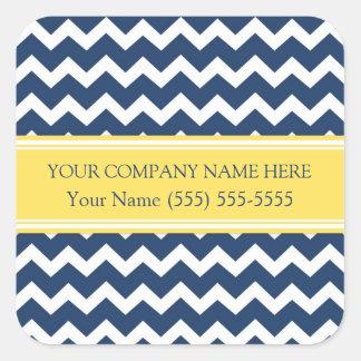 Business Custom Company Name Blue Yellow Chevron Square Sticker