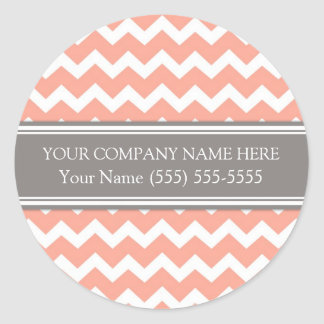 Business Custom Company Name Coral Grey Chevron Classic Round Sticker