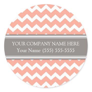 Professional Business Business Custom Company Name Coral Grey Chevron Classic Round Sticker
