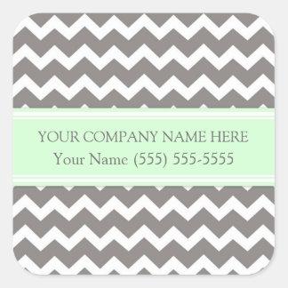 Business Custom Company Name Mint Gray Chevron Square Sticker