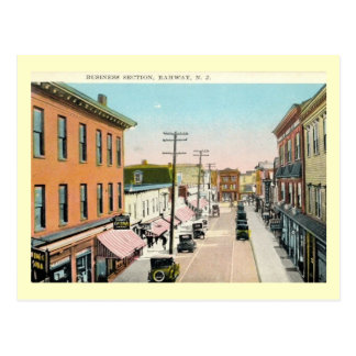 Business District, Rahway, New Jersey Vintage Postcard