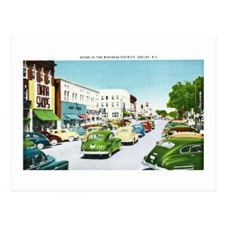 Business District, Shelby, North Carolina Postcard
