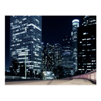 business district with big city lights during postcard