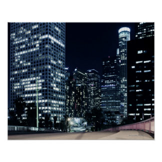 business district with big city lights during poster