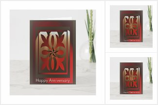 Business Employee Anniversary Cards Red and Gold