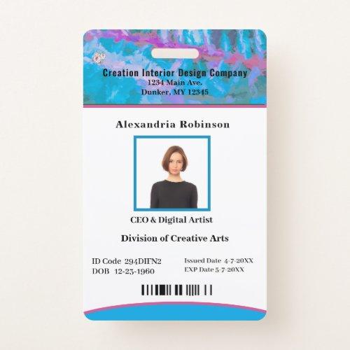Business Employee Bar Code Logo ID Identification Badge