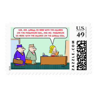 business figures deal postage stamps