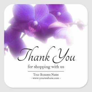 Business Floral Purple Orchid Thank You Square Sticker