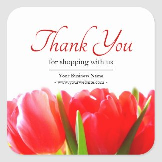Business Floral Red Tulips Thank You Square Sticker