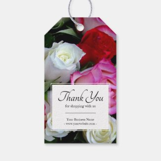 Business Floral Roses Bouquet Thank You Gift Tags