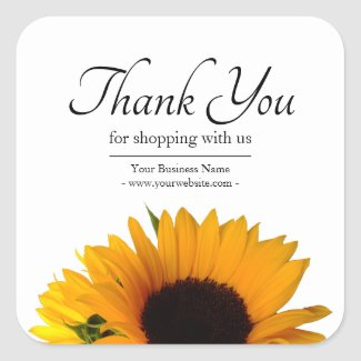 Business Floral Sunflower Thank You Square Sticker