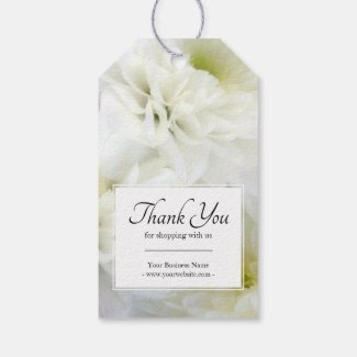 Business Floral White Bouquet Thank You Gift Tags