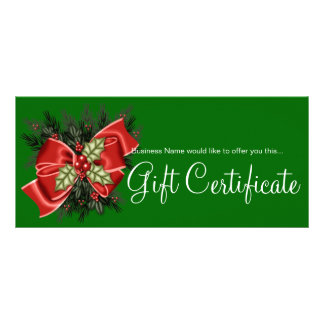 Business Gift Certificate Mistletoe & Red Bow