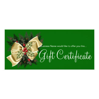 Business Gift Certificate Mistletoe & Tan Bow