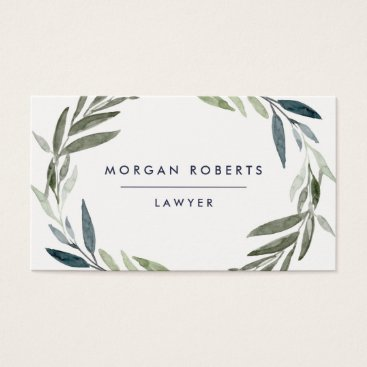 Lawyer Themed Business Green Olive Leaf Wreath Professional Business Card
