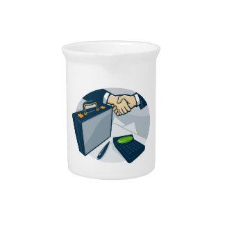 Business Handshake Deal Briefcase Retro Beverage Pitcher