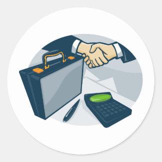 Business Handshake Deal Briefcase Retro Classic Round Sticker