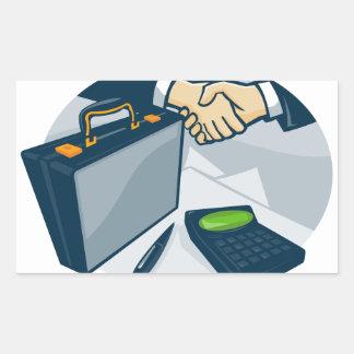 Business Handshake Deal Briefcase Retro Rectangular Sticker