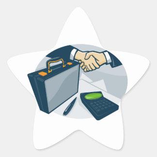 Business Handshake Deal Briefcase Retro Star Sticker
