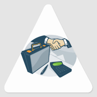Business Handshake Deal Briefcase Retro Triangle Sticker