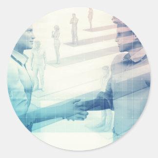 Business Handshake on Digital Technology Classic Round Sticker