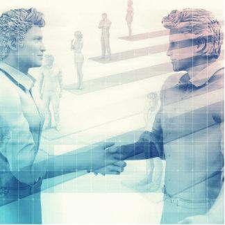 Business Handshake on Digital Technology Cutout