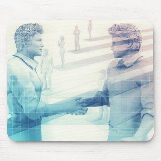 Business Handshake on Digital Technology Mouse Pad