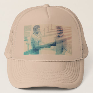 Business Handshake on Digital Technology Trucker Hat