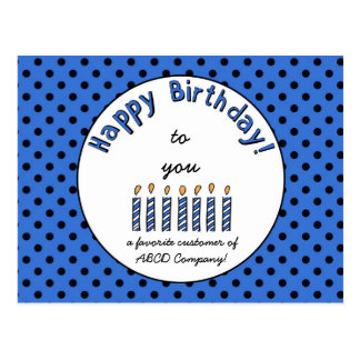 Business Happy Birthday Coupon Blue Postcard
