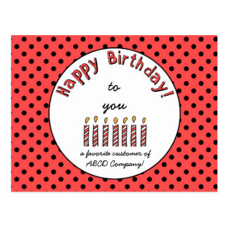 Business Happy Birthday Coupon Orange-Red Postcard