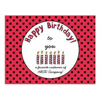 Business Happy Birthday Coupon Red Postcard