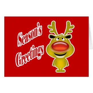 Business holiday greeting funny reindeer red card