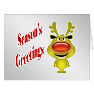 Business holiday greeting funny reindeer silver card