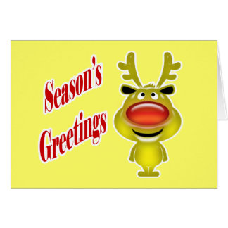 Business holiday greeting funny reindeer yellow card