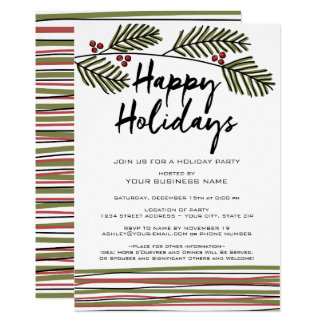 Business Holiday Party with Pine Tree Branches Card