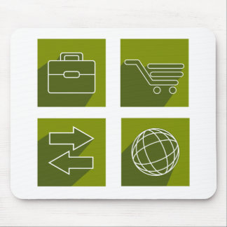 Business icon set mouse pad