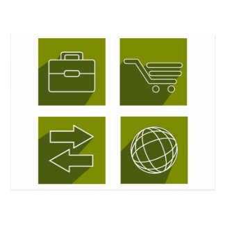 Business icon set postcard