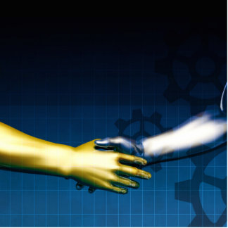 Business Integration Network with Hands Shaking Ab Statuette