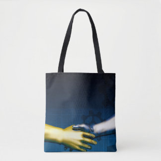 Business Integration Network with Hands Shaking Ab Tote Bag